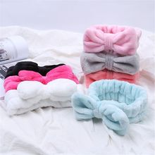 Women Girls Soft Coral Fleece Bow Hair Band Solid Color Wash Face Makeup Headwear Fashion Girls Turban Head Wraps Hair Accessor