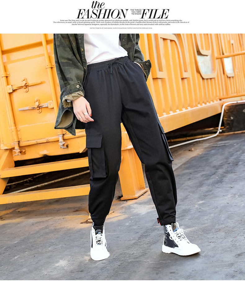 2019 spring and autumn new women's straight jumpsuit casual harem pants Harajuku style Korean version of the elastic waist wide 41