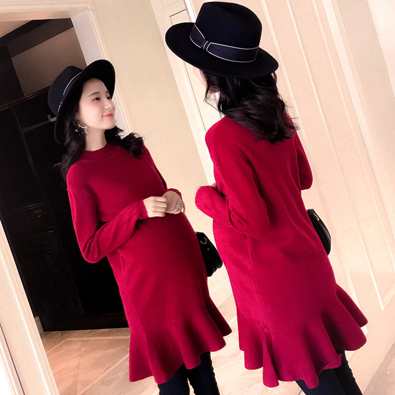 Ruffle Knitted Dresses Maternity Autumn Winter Casual Slim Bottoming Dresses Pregnancy Sweater For Pregnant Women Mother Wear