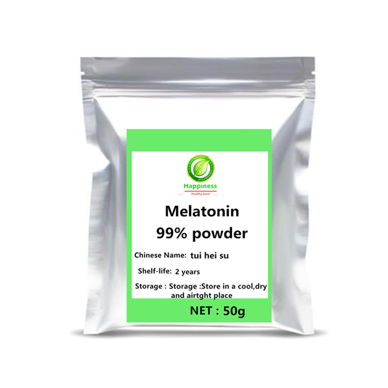 Hot sale 99% Melatonin Powder 1pc Nutrition festival top supplement sequins for face Better Sleep mask depression free shipping.