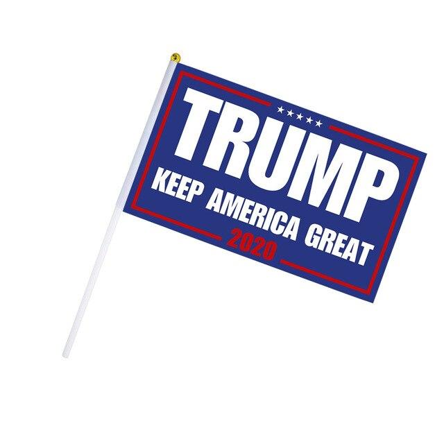 10PCS Donald Trump Flag for President 2020 Flag Small Mini Hand Held Stick Trump