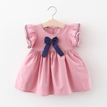 New Baby Girls Embroidered Dress Big Bow Children Kids Dresses Summer Birthday Clothing For Girls Holiday Casual Wear Clothes summer brand 2020 kids dresses for girls casual wear frill sleeve girl dress children boutique clothing tutu baby girls clothes