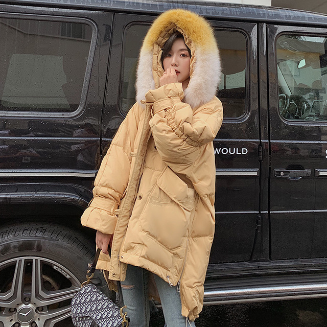 Winter fluffy duck   down     coat   female fashion hit color big real fox fur collar warm jackets hooded thicker warm   coat   F117