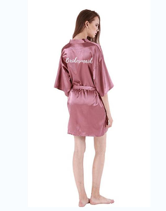Dusty Pink Bridal Party Robe Satin Silk Kimono Bridesmaid Wedding Gift Bathrobe Shower Sister Mother Of The Bride Robe