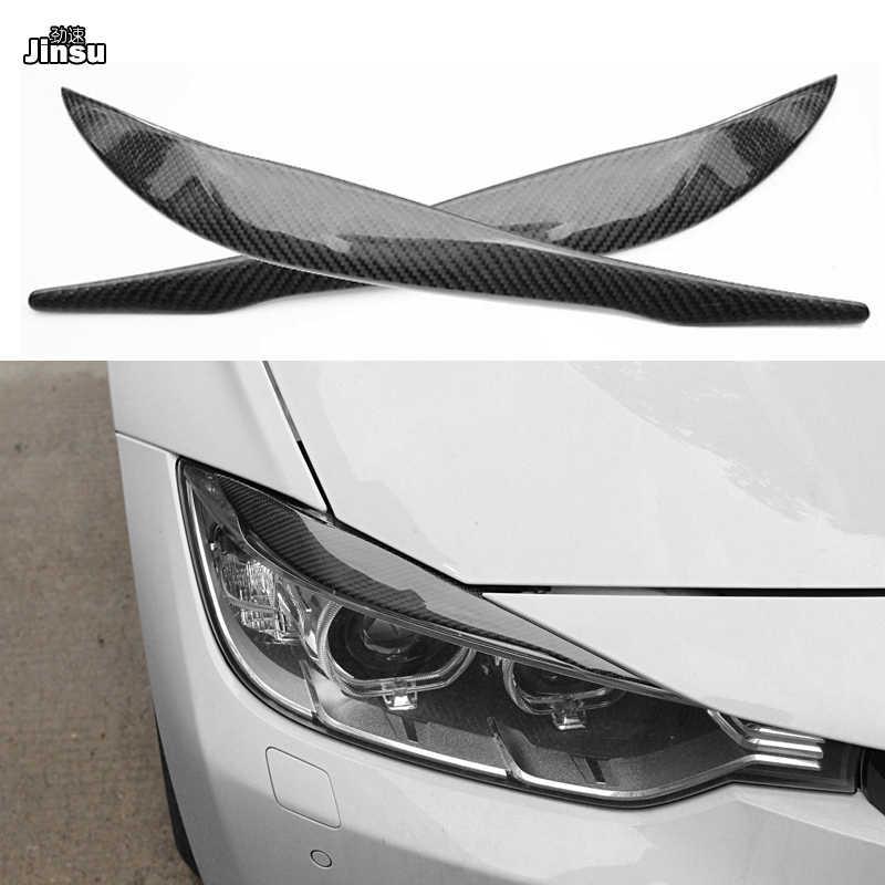 Carbon Fiber Headlight Eyebrow Eyelid Frame Decal Cover Trim for BMW 3 Series 5th E90 E91 E92 E93 315 318 320 323 325 328 2005-2013 dm103