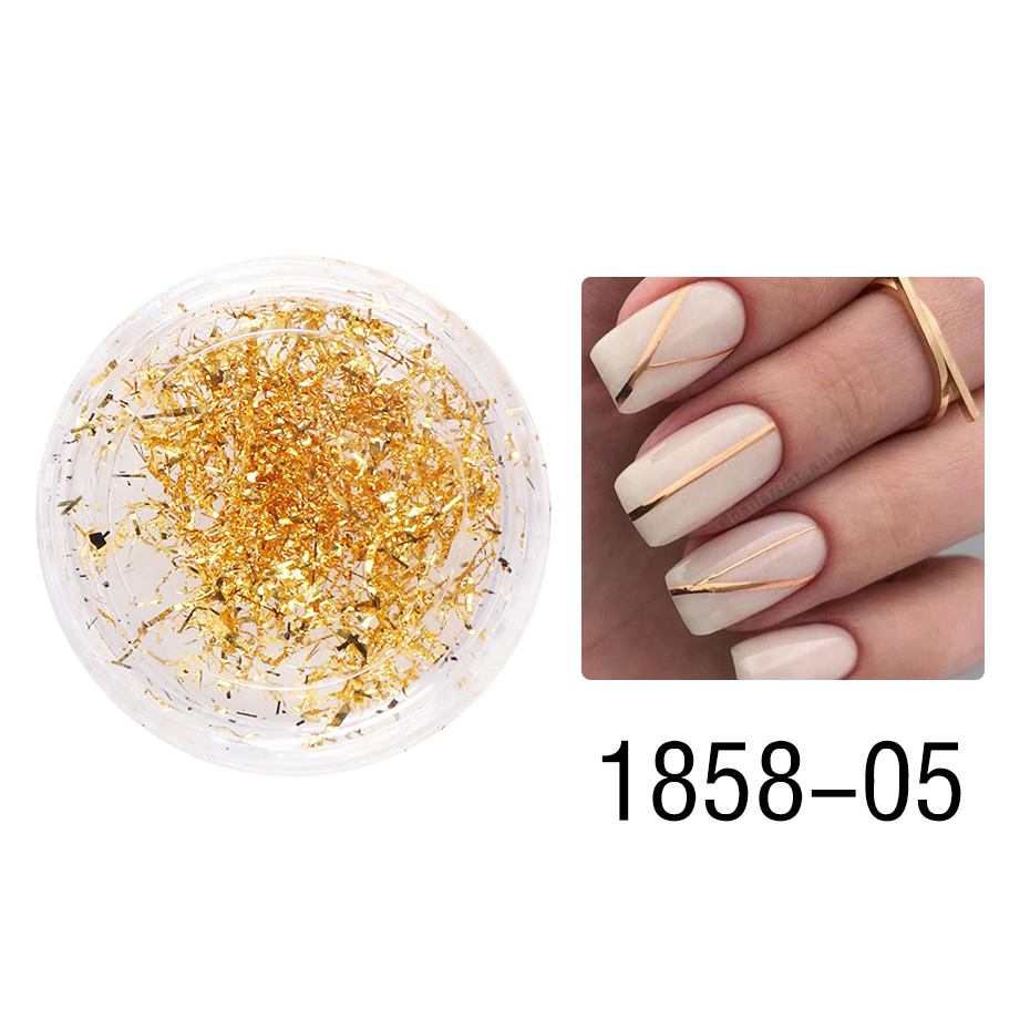 1 Box Gold Glitter Flakes Irregular Aluminum Foil Sequins For Nails Chrome Powder Winter Manicure Nail Art Decorations LY1858-1 34