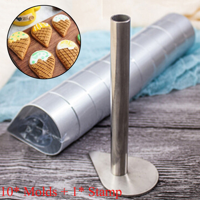 10*Aluminum Cake Molds With Stamp Pineapple Heart Pie Biscuit Cutter Metal Bread Mold For Cutting Cookie Dough Fondant Soft Frui