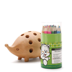 Image 2 - Nordic Arts and Crafts Studio Decoration Childrens Penholder Solid Wood Carving Hedgehog Decoration Small Gift