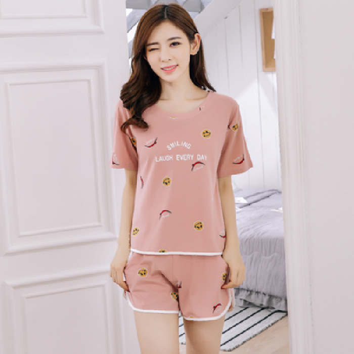 Pajamas Women's Summer Fashion Korean-style Loose And Plus-sized Suit Shorts Short Sleeve Pajamas Casual Tracksuit Women's Two-P