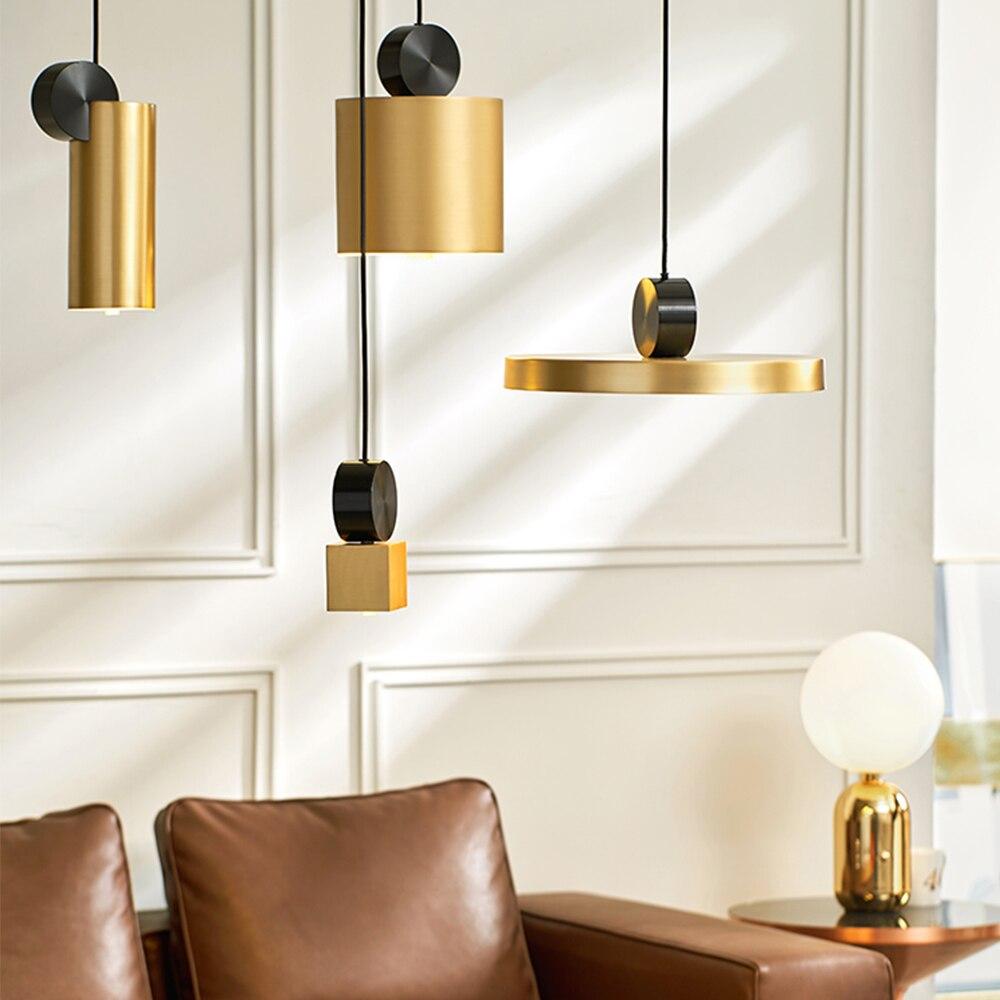 Bedside Pendant Lights Japanese Hanging Lamp Brass Pleated Lighting Restaurant Bar Hall Decora Lightings Creative Gold Brass