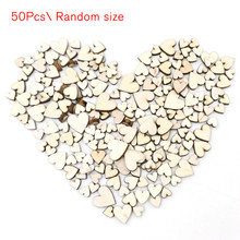 50pcs Rustic Wooden Love Heart Cilps Wedding Table Scatter Decoration Crafts DIY Home Party Ornaments Decorations Wood Gift H(China)