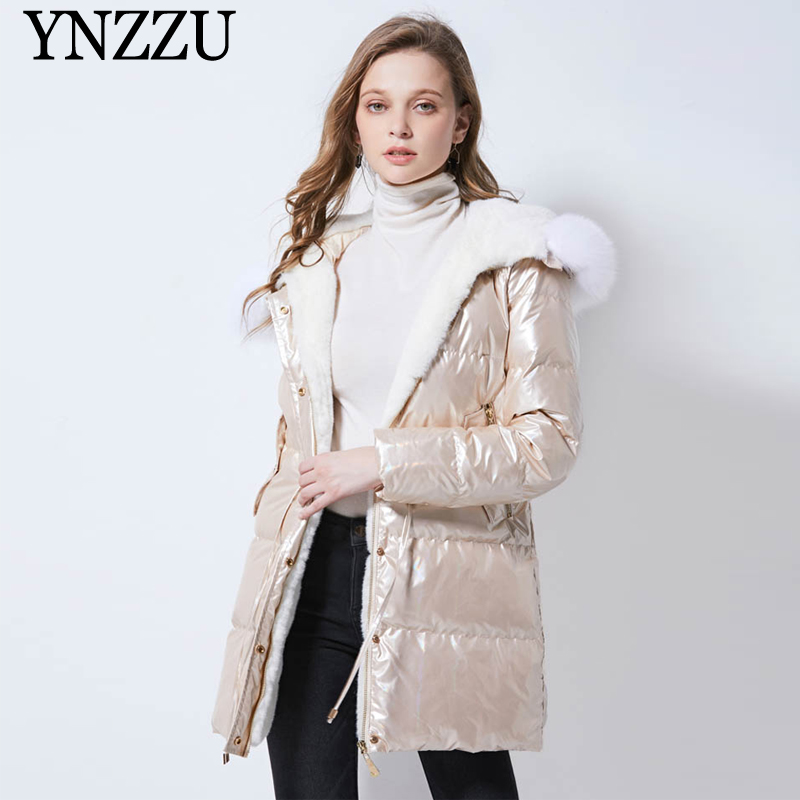 Women 2019 Winter Long   down   jacket Hooded Elegant Nature fur collar Loose Female   Down     coat   Gold color Warm Thick YNZZU 9O069
