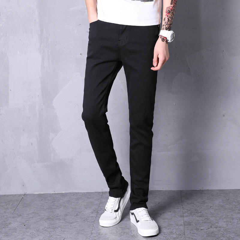 Autumn New Style Jeans Men's Slim Fit Simple Black And White With Pattern Korean-style Casual Youth Trend Versatile Men Skinny T