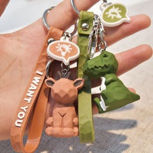 Fashionable and high qualit  Dinosaur Keychain lovely geometric The deer Cartoon PU Key Chain Women Creative Car Bag Ring