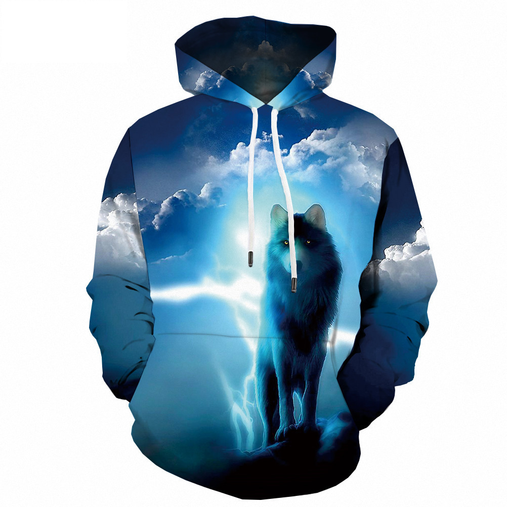 Fashion Brand Men's Foreign Trade Popular Wolf Hoodie Coat 3d Digital Printing Leisure Sportswear
