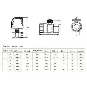 Image 3 - AC220V /24 فولت DC12V/24 فولت 2 طريقة النحاس صمام كروي مزود بمحرك الكرة الكهربائية صمام المحرك الكهربائي DN15 DN20 DN25 DN32 DN40