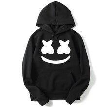 ZUSIGEL New Autumn Winter Smile Face Print Black Hoodie Loose Casual Letter Hooded Sweatershirt Hip Hop Hoodies Men 2019