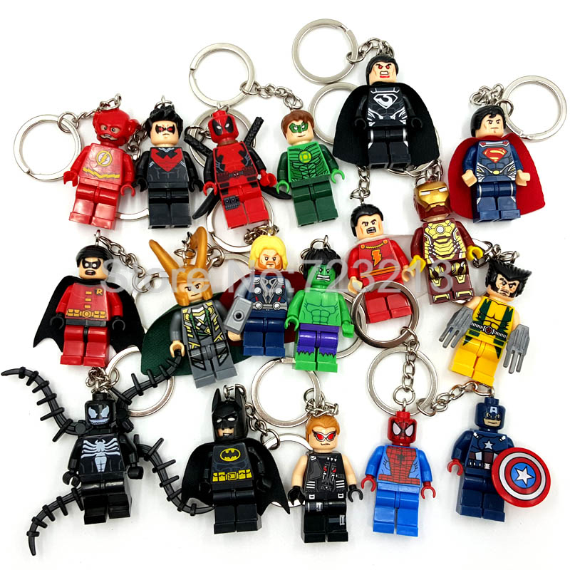 Hot Super Heroes Figure Keychain Marvel DC Batman Iron Spider Man Thor Deadpool Flash Robin Loki Venom Building Blocks Toy