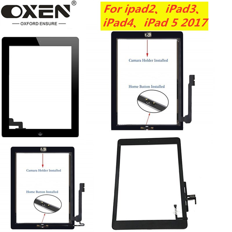 OXEN For ipad Air A1474 <font><b>A1475</b></font> <font><b>LCD</b></font> Touch Screen Digitizer for ipad 2 3 4 5 A1395 A1396 A1403 A1416 Front Glass Panel Replacement image