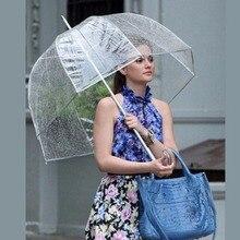 Прочный Прозрачный женский зонт с длинной ручкой полуавтоматический портативный размер для девочек Солнечный дождливый полиэстеровый зонтик дождевик