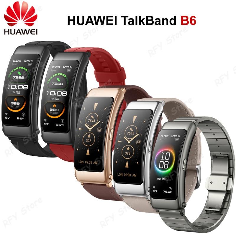Новинка 2020, смарт-браслет Huawei B6 Talkband B6, Bluetooth, носимые спортивные браслеты, сенсорный AMOLED экран, браслет для наушников