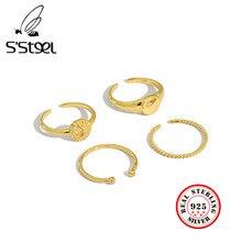 Bague en Argent Sterling 925 s steel pour Femme, anneau ouvert en or minimaliste coréen, bijoux ajustable