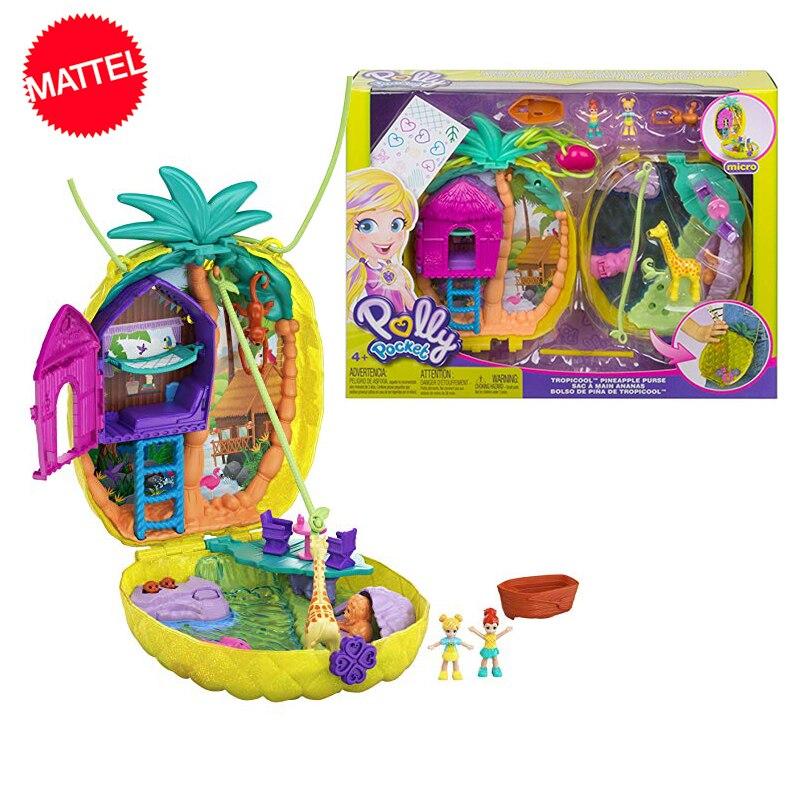 Original Mattel Polly Pocket Wearable Purse Compact Girls Home Toys For Children Mermaid Kid Nesting Reborn Dolls Girls