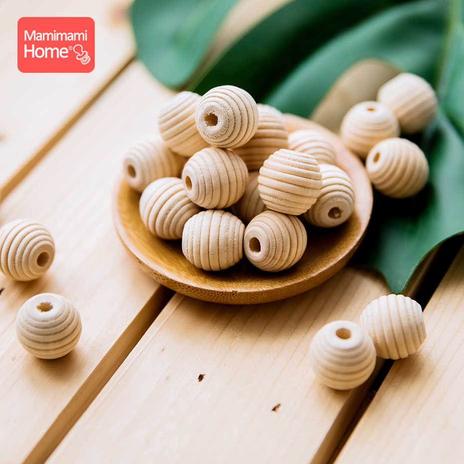 15Pcs 18mm Wood Threaded Beads DIY Nursing Necklace Baby Wooden Teether Blank Rodent Nurse Gifts BPA Free Children'S Goods Toys