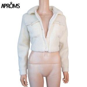 Image 4 - Aproms модная черная куртка на пуговицах с карманами, Женская приталенная укороченная куртка с длинным рукавом, зимнее пальто, крутая уличная короткая куртка для девочек 2020