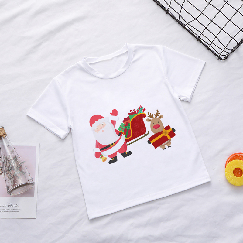 Casual Summer Kids Boys T Shirt Santa Claus Tree Elk Kawaii Printing Christmas Shirt Lovely Short Sleeve Fashion Baby Girl Tops 1