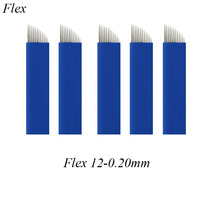 50 Pcs 0.20mm Flex 12 Blue Microblading BladesEyebrow Tattoo Permanent Makeup Blade For Tobori Pen