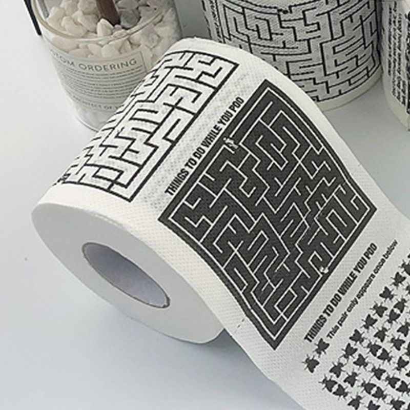 1 Roll Funny Printed Toilet Paper 2-Ply Unscented Tissue For Home Bath Room Use X7YB