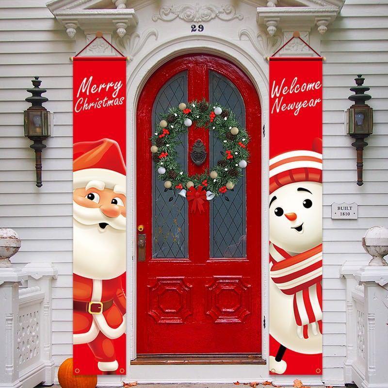 Счастливого Рождества баннеры Новый год украшения Добро пожаловать Яркие Рождественские крыльцо вывеска подвесная настенная дверная с из...