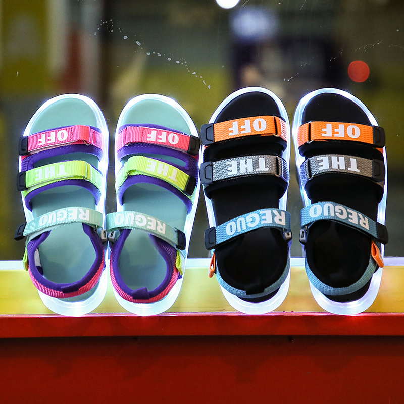 UncleJerry Child Sandals USB Charging Lighting Shoes Children Glowing Sandal for Boys and Girls Summer Shoes