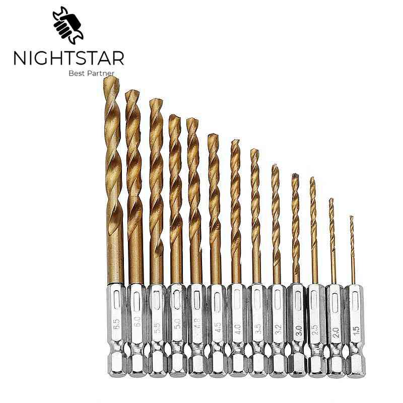 Durable Precision Titanium Coated Drill Bit Set 13pcs//lot 1.5-6.5mm 1//4 Hex Shank Drill Bit Hexagonal Handle Titanium Twist Drill Bit