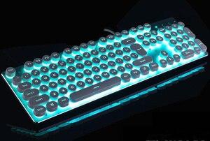 Проводная игровая клавиатура, светодиодный синий переключатель подсветки, стандартные клавиши против ghosting, ретро-клавиатура в стиле машин...