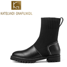 KATELVADI New Women Boots 2019 Winter 3.5CM Blue Strap Knitting With PU Thick Heels Ankle Shoes Size 34-40  K-531