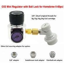 Mini Co2 regülatörü top kilit Sodastream,Paintball tankı, tek kullanımlık kartuş Homebrew bira Cornelius 0 ~ 60psi