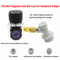 Mini Co2 regulator Charger with Ball Lock to Sodastream,Paintball Tank,Disposable Cartridge for Homebrew Beer Cornelius 0~60psi