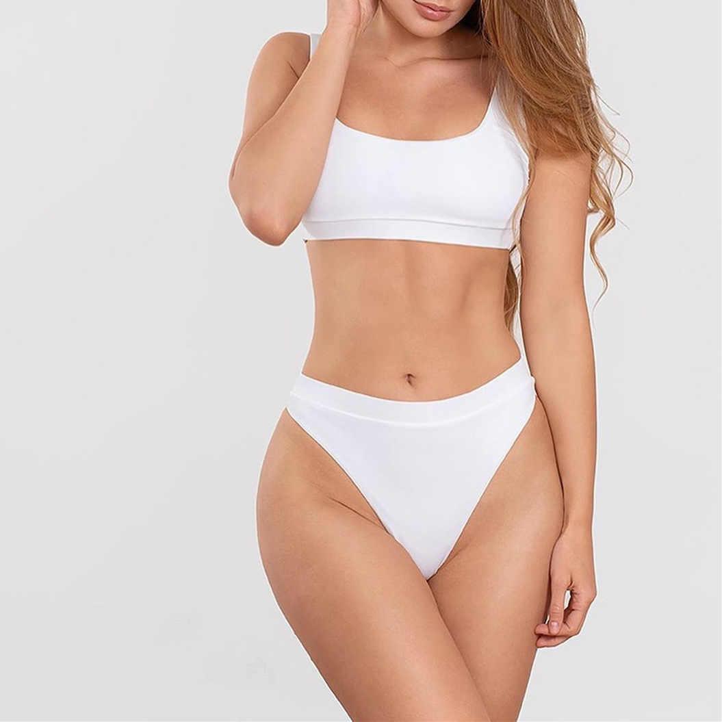 2020 High Waist Pakaian Push Up Seksi Kuning Baju Renang Wanita Sport Tanaman Bikini Set Wanita Beach Swimwear Brasil Pakaian
