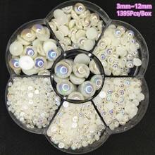 Unids/caja de cuentas de perlas planas semiredondas, blancas puras, para fabricación de joyas, manualidades, accesorios de ropa, decoraciones Nail Art, 1395