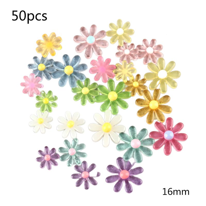 50Pcs Multicolor Candy Resin Daisy Sunflower Flat Back Cabochon DIY Accessories