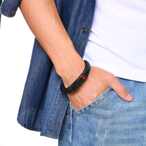 Image 2 - تنبيه طبي ID أساور الفولاذ المقاوم للصدأ منقوش مرض السكري الحساسية SOS النساء الرجال مضفر الجلود سوار