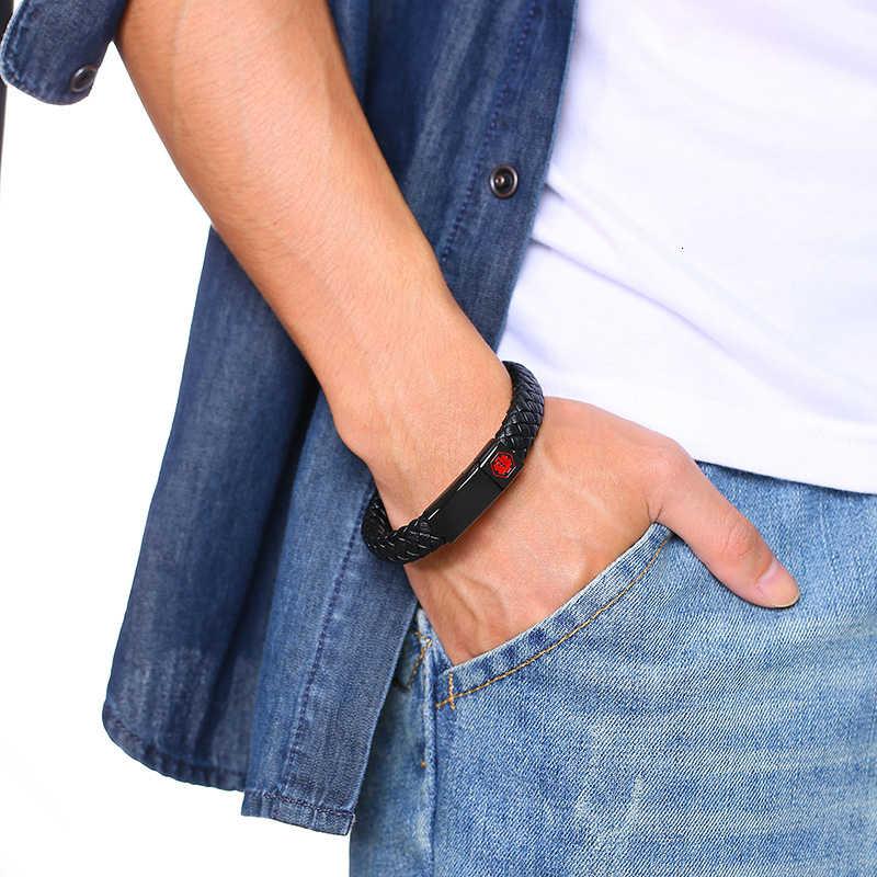 Medical Alert IDสร้อยข้อมือสแตนเลสEngravableโรคเบาหวานภูมิแพ้SOSผู้หญิงผู้ชายBraidedสร้อยข้อมือหนัง