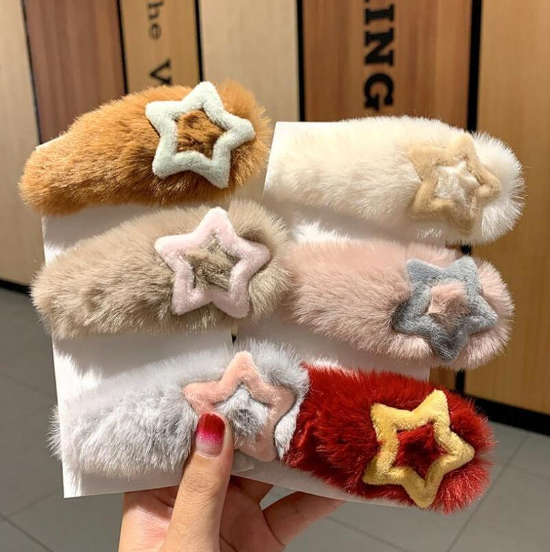 New Soft Plush Star Hairpins Korean Fashion Faux Fur Waterdrop Shape Hair Clips Women Winter Sweet Colorful Hair Accessories
