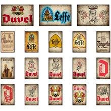 Bélgica leffe duvel jupiler cerveja sinais de metal cartazes pintura da parede do vintage pub personalizado decoração bb1