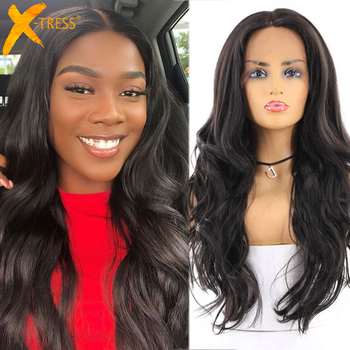 Black Colored Synthetic Lace Front Wigs For Women X-TRESS 24inch Long Body Wave 13X4 Hair Wig With Natural Hairline - discount item  42% OFF Synthetic Hair