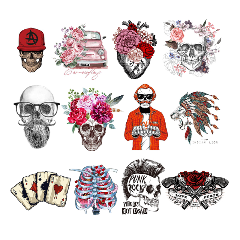 Punk Skull Heat Transfer Iron-On Clothes Accessories Mexican Heart Decoration Stripes On Jeans Back Fusible Patch Sticker Fabric
