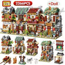 LOZ 2266 шт. Мини Строительные блоки мини улица город Китая уличные китайское национальное Архитектура модель блоки, Детские кубики, развивающие игрушки для детей