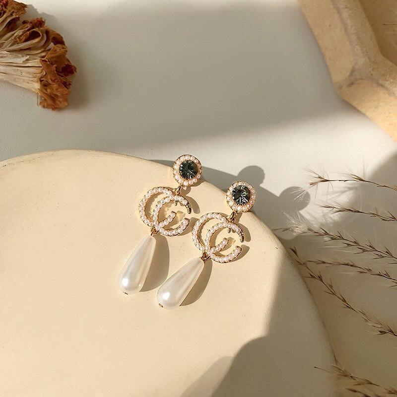 S925 Needle Small Fragrant Letter Long Pearl Earrings Retro Celebrity Temperament Crystal Long Korean Earrings Female Women